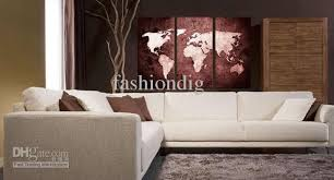 home office artwork. Oil Painting Canvas Abstract World Map Artwork Handmade Home Office