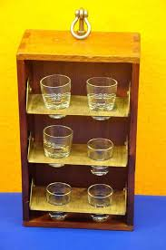 mobile shot glass shelf for ship cedar wood brass