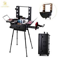 dels about lockable pro professional rolling studio makeup cosmetic train case lighted key