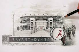 >ncaa college alabama crimson tide 3 d bryant denny football stadium  ncaa college alabama crimson tide 3 d bryant denny football stadium replica collectible wall art shadow box 9022367