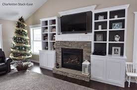 Built In With Fireplace Stoned Fireplace With Built Ins Charleston Stack Ease Jn Stone