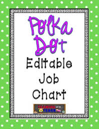 First Grade Job Chart Lime Green Polka Dot Editable Job Chart