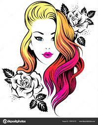 女の子の髪型 ストックベクター Reinekke 180615120
