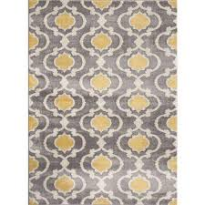 moroccan trellis contemporary gray yellow 5 ft 3 in x 7 ft