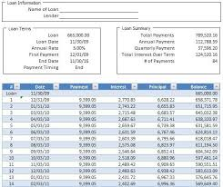 Amortization Chart Simple Loan Amortization Schedule Calculator In Excel