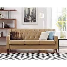 O Avenue Greene Everest Taupe Tufted Back Track Arm Sofa
