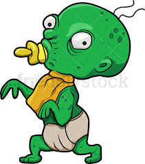 funny baby zombie with pacifier cartoon