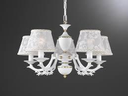 5 lights matt iron white brass chandelier with lamp shades