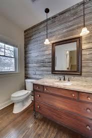 Bathroom | Rustic Look Powder Room Use Barnwood Wall Panel ...