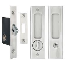 delf cavity sliding door lock set 70178sn square edge satin nickel