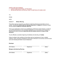 Verbal Warning Sample Formal Business Letter Part 4