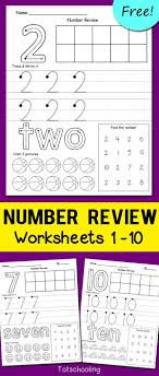 FREE Number printables for kindergarten kids to review numbers 1-10.  Tracing and writing
