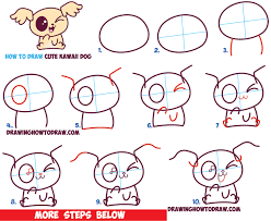 dog drawing step by step how to draw cute kawaii chibi puppy dogs with easy step