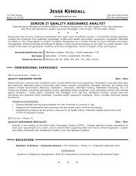 Quality Assurance Resume Example Sample Qa Format Manual Testing