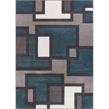 well woven ruby imagination squares blue 8 ft x 10 ft modern area rug 600967 the home depot