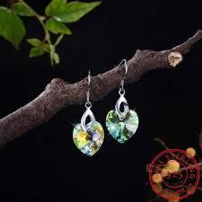 Fine Jewelry Made with <b>Heart</b> Swarovski Crystal Drop Earrings <b>Real</b> ...