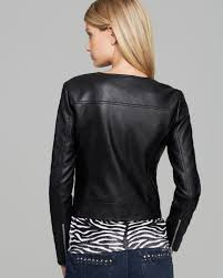 leather moto jackets for y s lyst michael kors faux