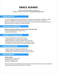 Resume Sample Format For Fresh Graduatenokiaaplicaciones Com