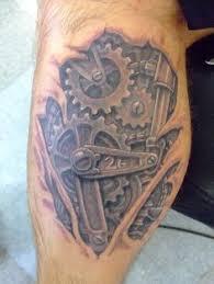 Steampunk Tattoo Machine Leg Temoprary Hand Drawn Tattoo Of Gears