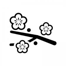 枝と梅の花のシルエット02 無料のaipng白黒シルエットイラスト