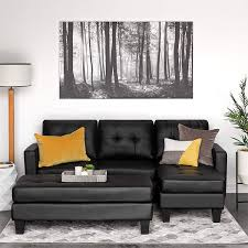 com best choice products tufted faux leather 3 seat l shape sectional sofa couch set with chaise lounge ottoman coffee table bench black kitchen