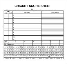 Cricket Score Chart Format Sample Cricket Score Sheet 10 Documents In Pdf