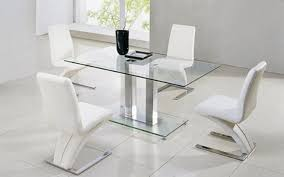 actona gl dining table with 4 designer z chairs in white faux