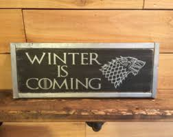 Game Of Thrones Stark House Crest Wooden Plaque House stark wall art Etsy 26