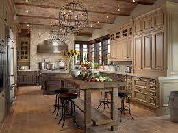 Captivating French Country Kitchen Design With Teak Dining Table Plus Four  Bar Stools Near Cream Wooden Cabinets Under Traditional Chandelier  Installation