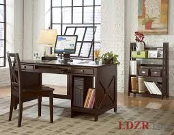 elegant home office room decor. Office:Rustic Elegant Home Office With Wooden Dark Desk And Chairs Also Exposed White Brick Room Decor E