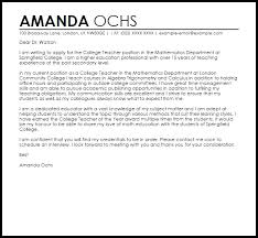 Example Teacher Cover Letters College Teacher Cover Letter Sample Cover Letter Templates