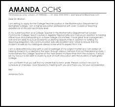 Teacher Cover Letter Example College Teacher Cover Letter Sample Cover Letter Templates