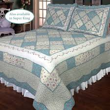 Ashley Blue Floral Patchwork Quilt Bedding &  Adamdwight.com