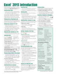 Refference Sheet Microsoft Excel 2013 Introduction Quick Reference Guide Cheat Sheet Of Instructions Tips Shortcuts Laminated Card Other Format