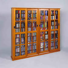 4 door glass cd dvd wall media storage cabinet