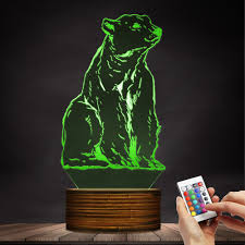 Polar Bear Night Light Animal Totem Polar Bear Night Light 3d Effect Optical Illusion The White Bear Desk Lamp Kid Room Nightlight Animal Themed Lighting Decor