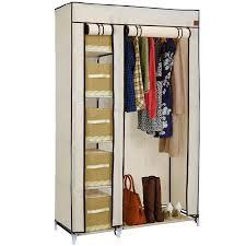 wardrobe furniture. vonhaus double canvas effect wardrobe clothes cupboard hanging rail storage 6 shelves beige furniture c