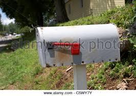 mail box American flag USA cute blue house little Stock