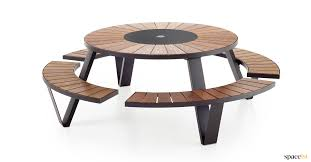 black outdoor picnic table with wood top pentagale