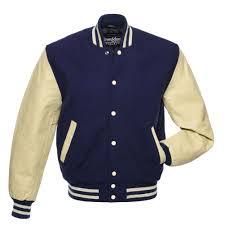 Designer Mens Letterman Jacket Navy Blue Wool Natural Leather Letter Jackets Gaparrilla
