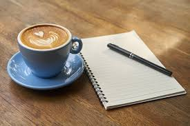 Image result for coffee cup pen and paper reading glasses, laptop