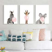 >animal koala giraffe zebra canvas poster nursery wall art print baby  image is loading animal koala giraffe zebra canvas poster nursery wall