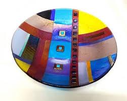 custom made large patchwork bowl unique fused glass design