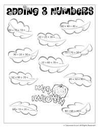Adding 3 Numbers (Multiples of Ten) Halloween Math Worksheet - Woo ...