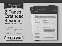 Extended Resume Template 2 Pages Resume Cv Extended Pack By Daniel E Graves On Dribbble