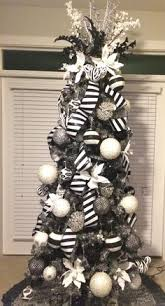 CHRISTMAS TREE~Dark gray/pewter tree with black, white, silver and bling  ornaments