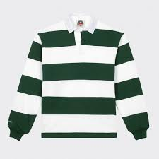 striped rugby shirt white green