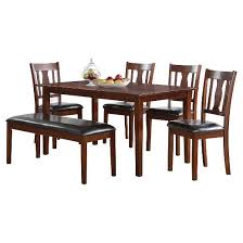 dining set wood. 6 piece jayden dining set wood/brown cherry - acme wood n