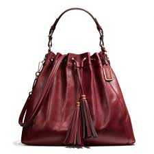 Coach Madison Large Drawstring Shoulder Bag in Pinnacle Leather in Purple  (LI GARNET)