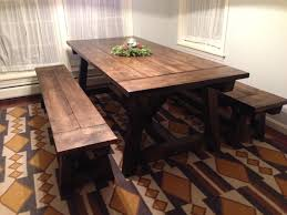 image of farmhouse dining table with bench corner